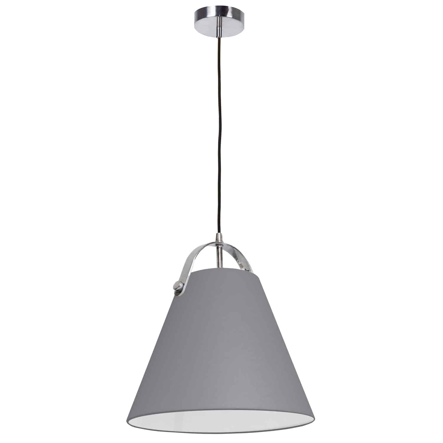 1 Light Emperor Pendant Polished Chrome with Grey Shade