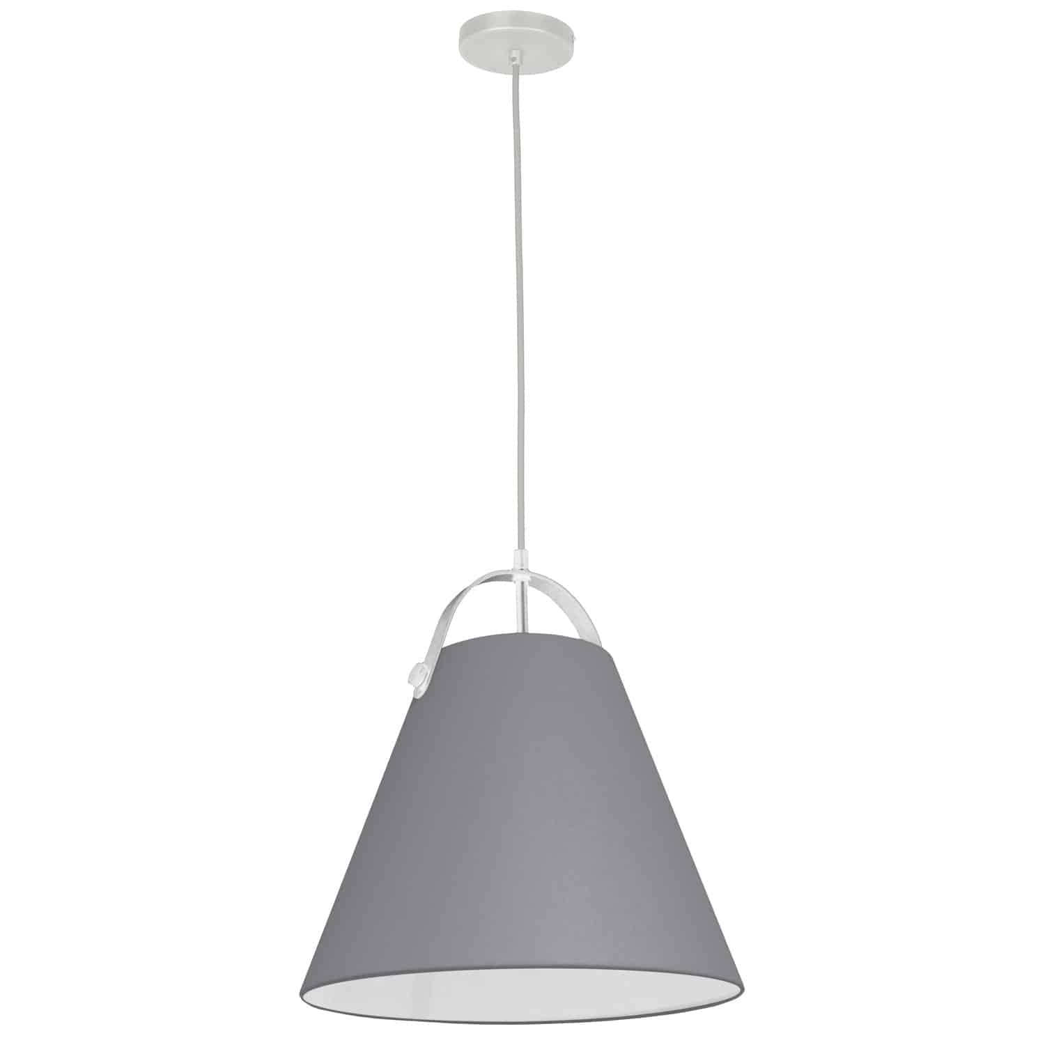 1 Light Emperor Pendant White with Grey Shade