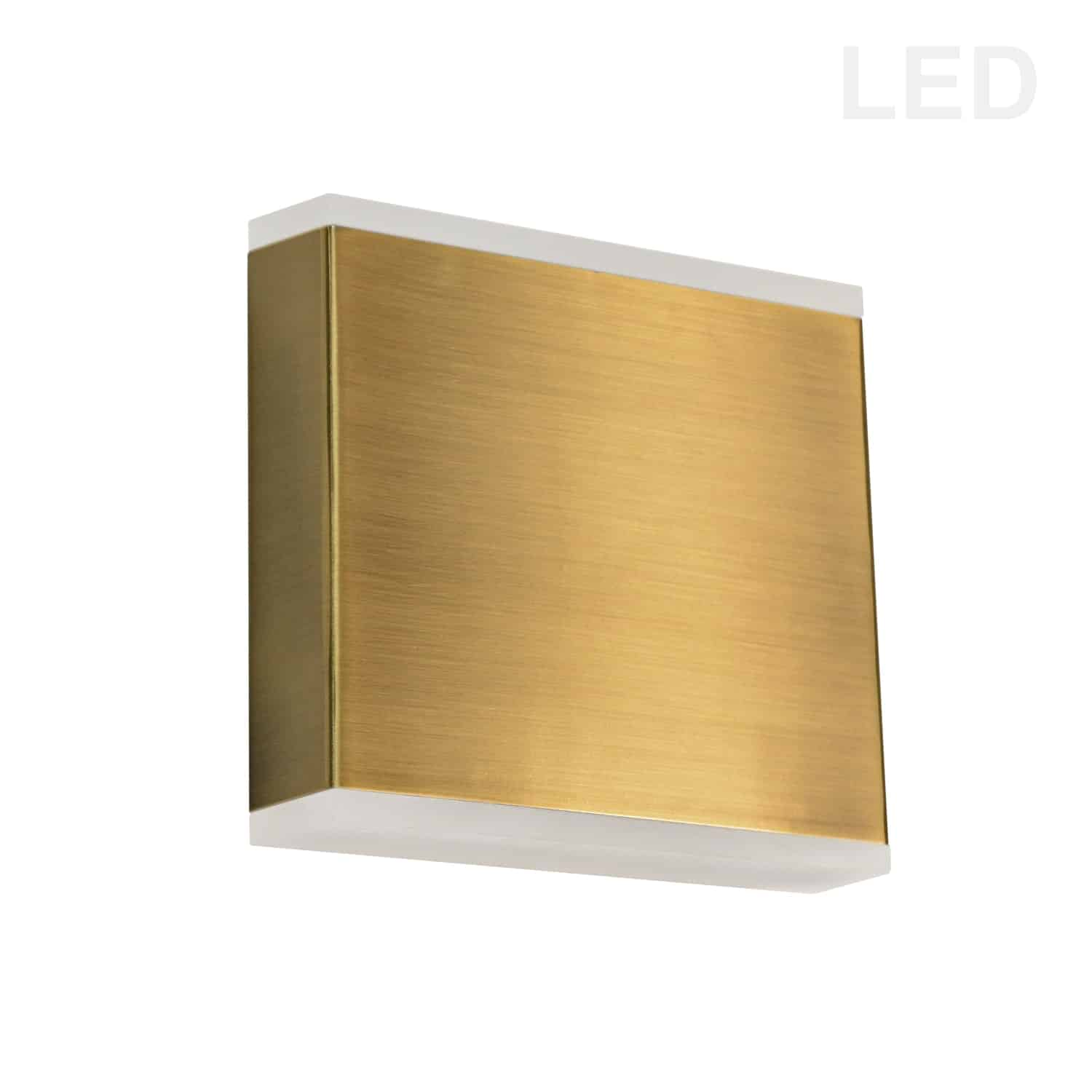 15W LED Wall Sconce, Aged Brass with Frosted Acrylic Diffuser