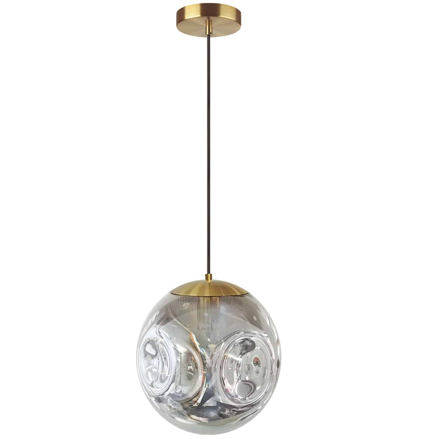 1 Light Incandescent Pendant, Aged Brass Finish with Smoked Glass