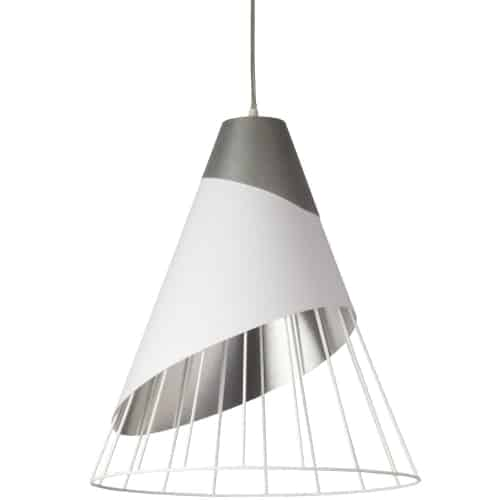 1 Light White Pendant with Steel Fabric Cap and White on Silver Hardback Shade