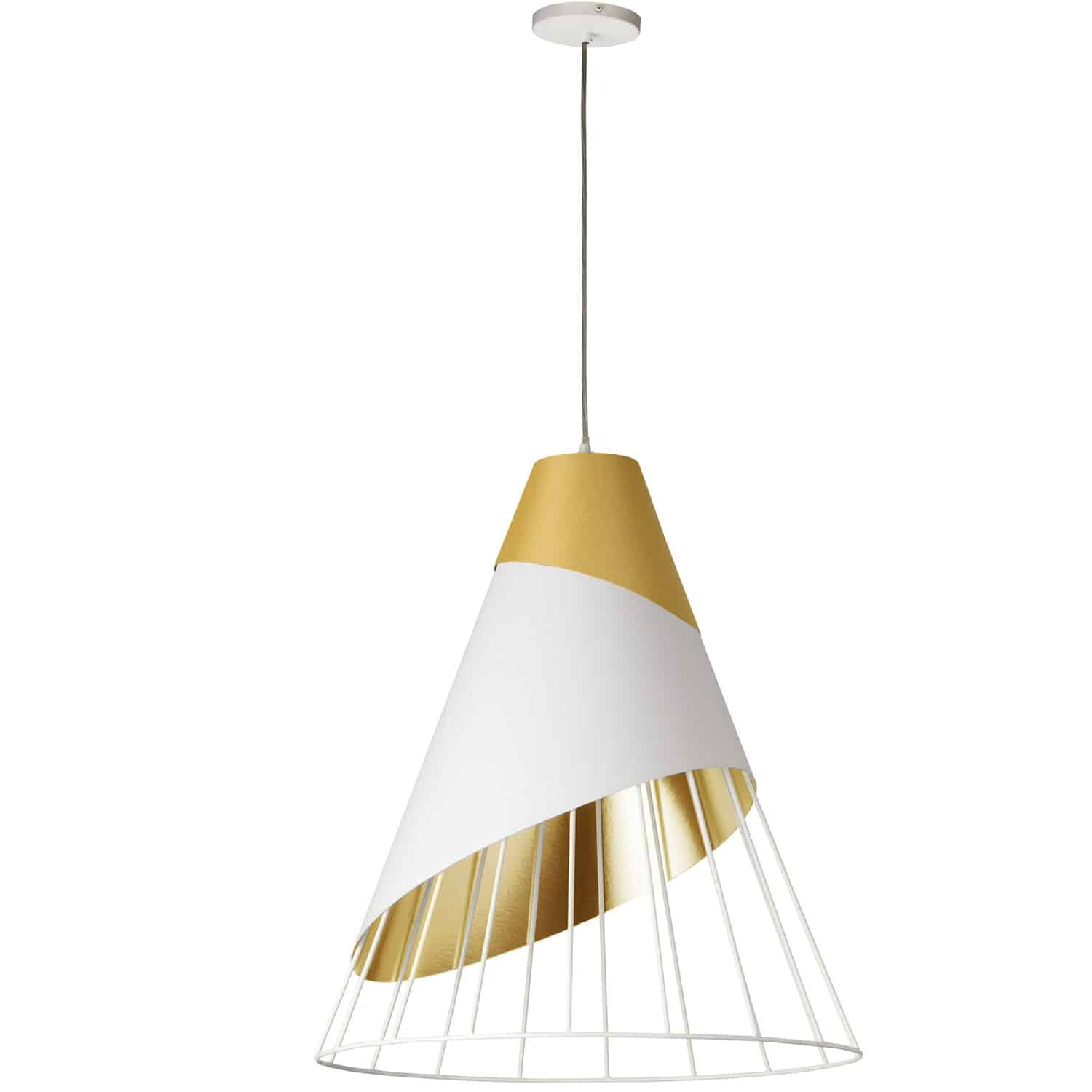 1 Light Gold Pendant with Gold Fabric Cap and White on Gold Hardback Shade