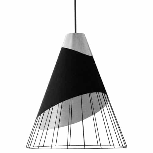 1 Light Black Pendant with Steel Fabric Cap and Black on Silver Hardback Shade