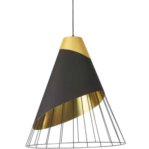 1 Light Black Pendant with Gold Fabric Cap and Black on Gold Hardback Shade