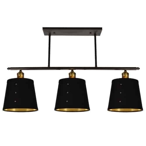 3 Light Horizontal Pendant, Tapered Drum Shade with Brass Rivets, Vintage Steel Finish, Black on Gold Fabric