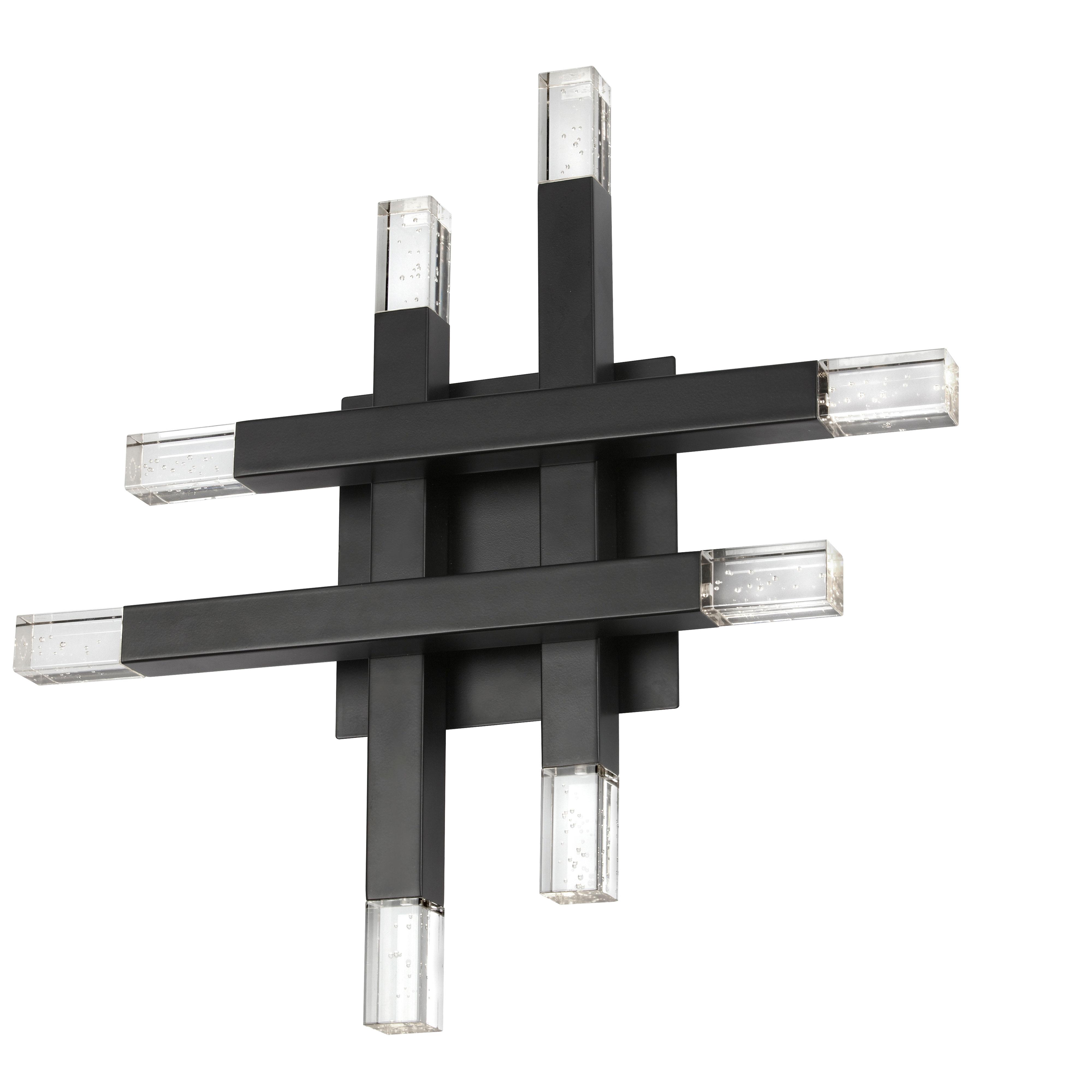 32W Matte Black Wall Sconce w/ Acrylic Diffuser