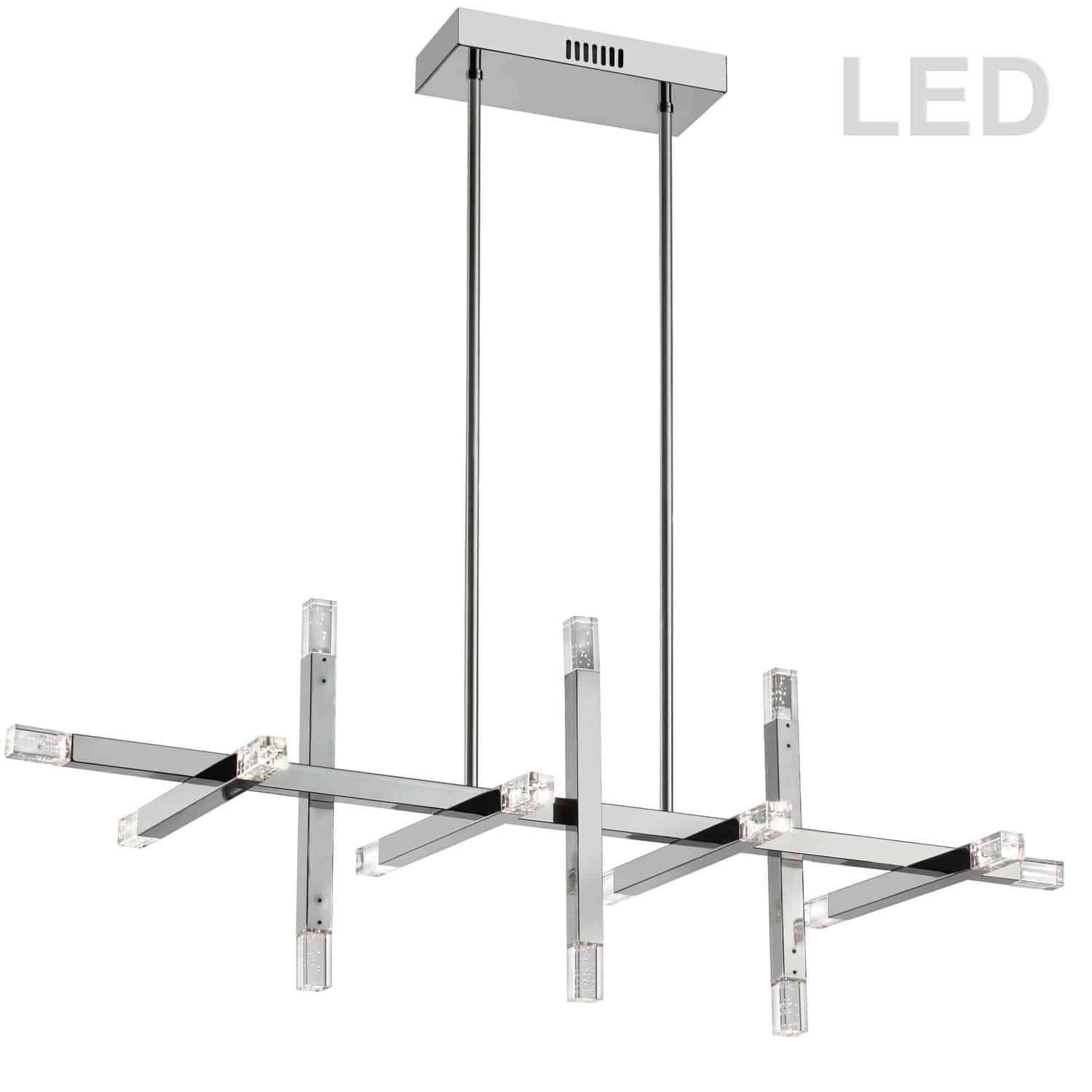 64W Horizontal Polished Chrome Chandelier w/ Acrylic Diffuser