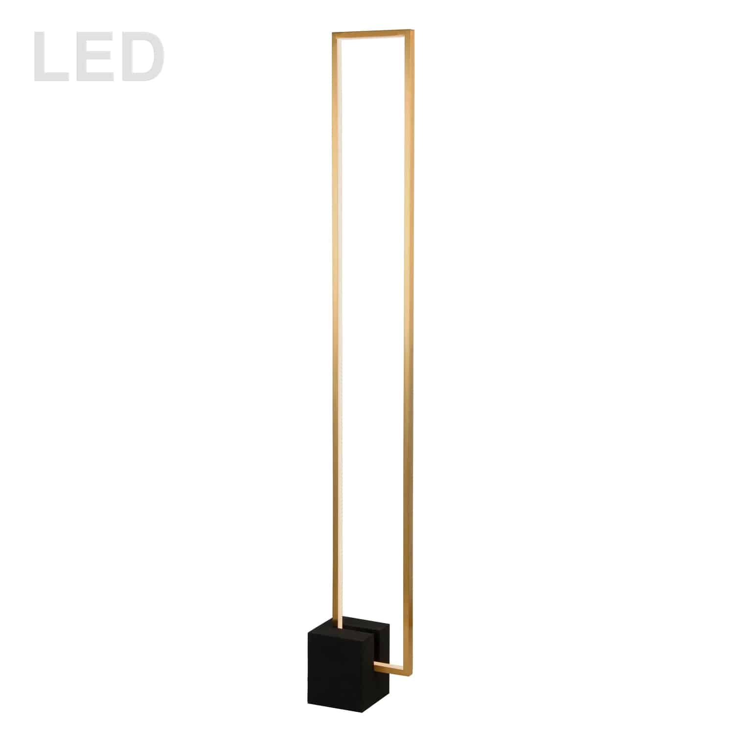 34W LED Floor Lamp, Aged Brass with Matte Black Concrete Base