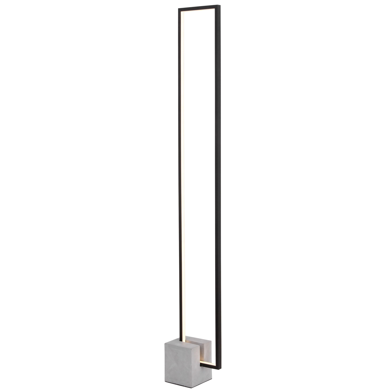 34W LED Floor Lamp Black Finish with Concrete Base