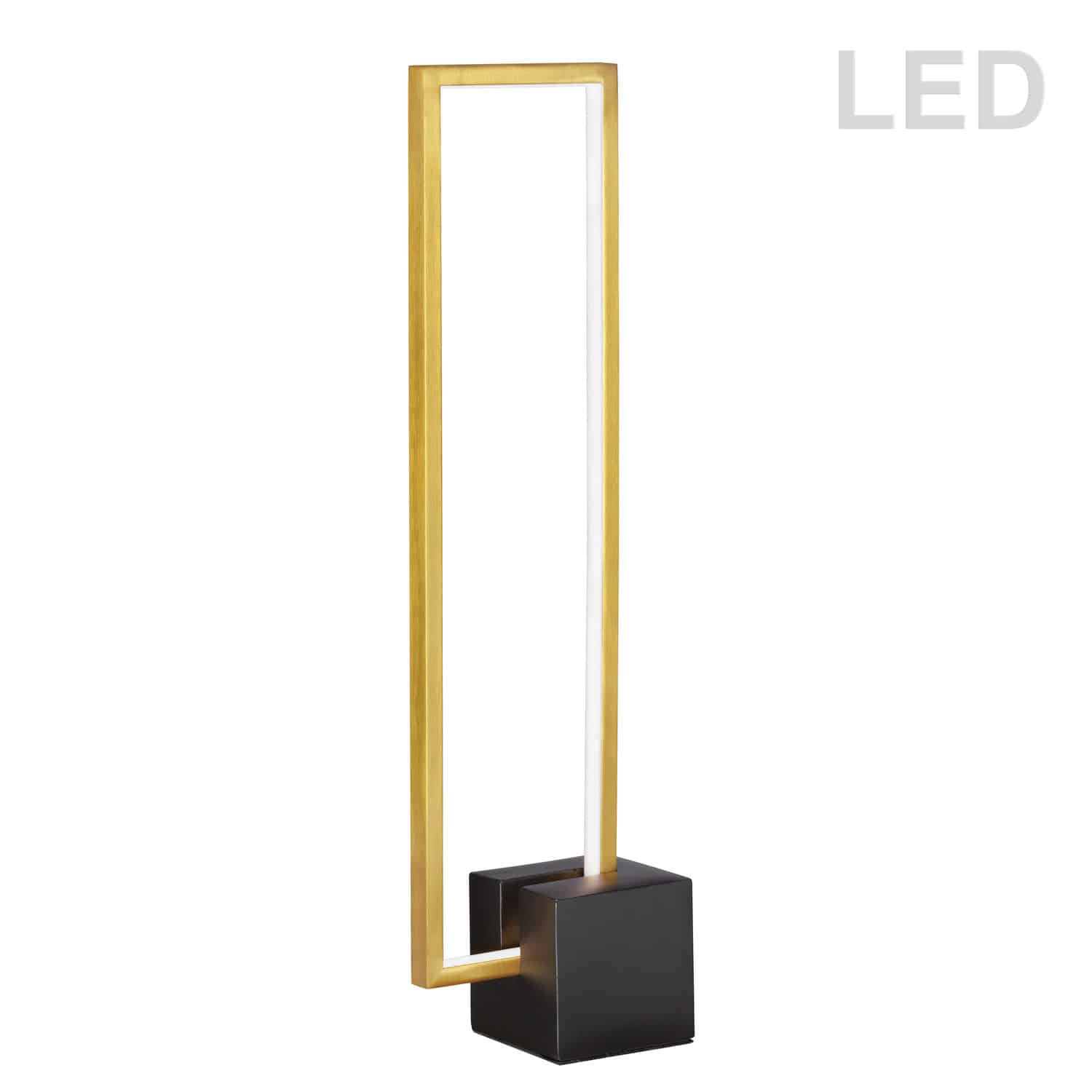 21.6W LED Table Lamp, Aged Brass with Matte Black Concrete Base