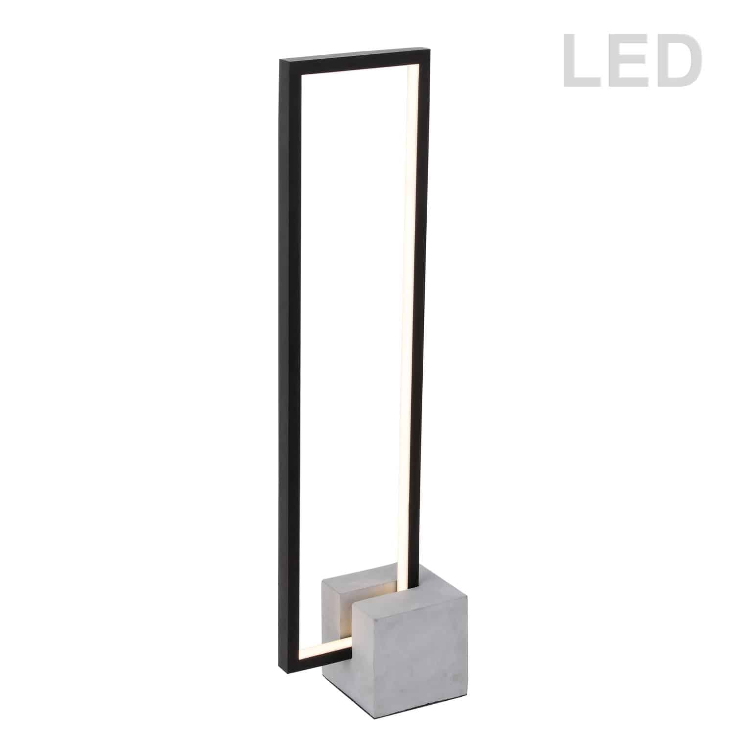 21.6W LED Table Lamp Black Finish with Concrete Base
