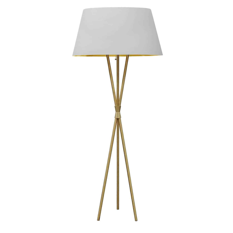 1 Light 3 Legged Aged Brass Floor Lamp, with White/Gold Shade