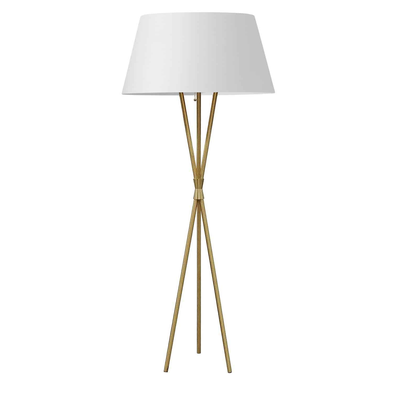 1 Light Incandescent Aged Brass Floor Lamp w/ White Shade