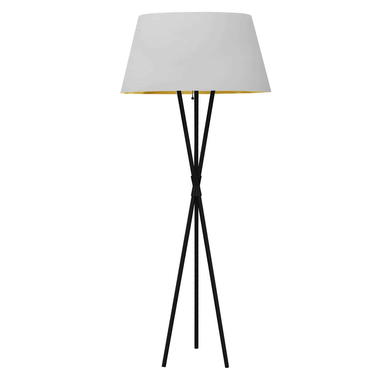 1 Light 3 Legged Matte Black Floor Lamp, with White/Gold Shade