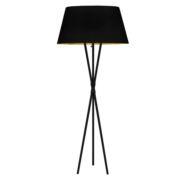 1 Light 3 Legged Matte Black Floor Lamp, with Black-Gold Shade
