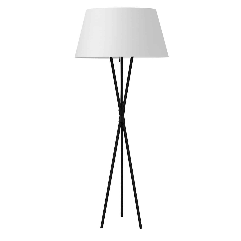 1 Light Incandescent Matte Black Floor Lamp w/ White Shade