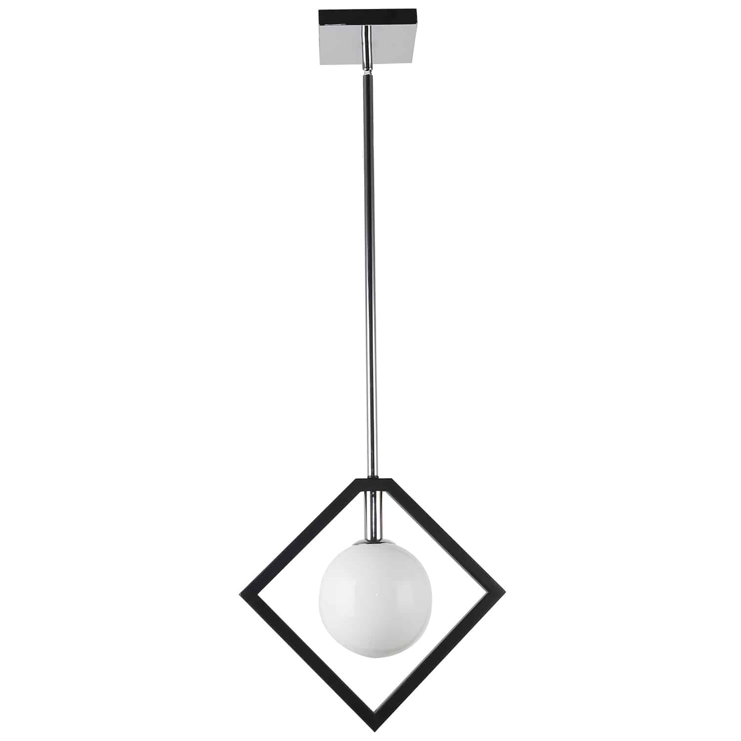 1 Light Pendant, Matte Black & Polished Chrome Finish