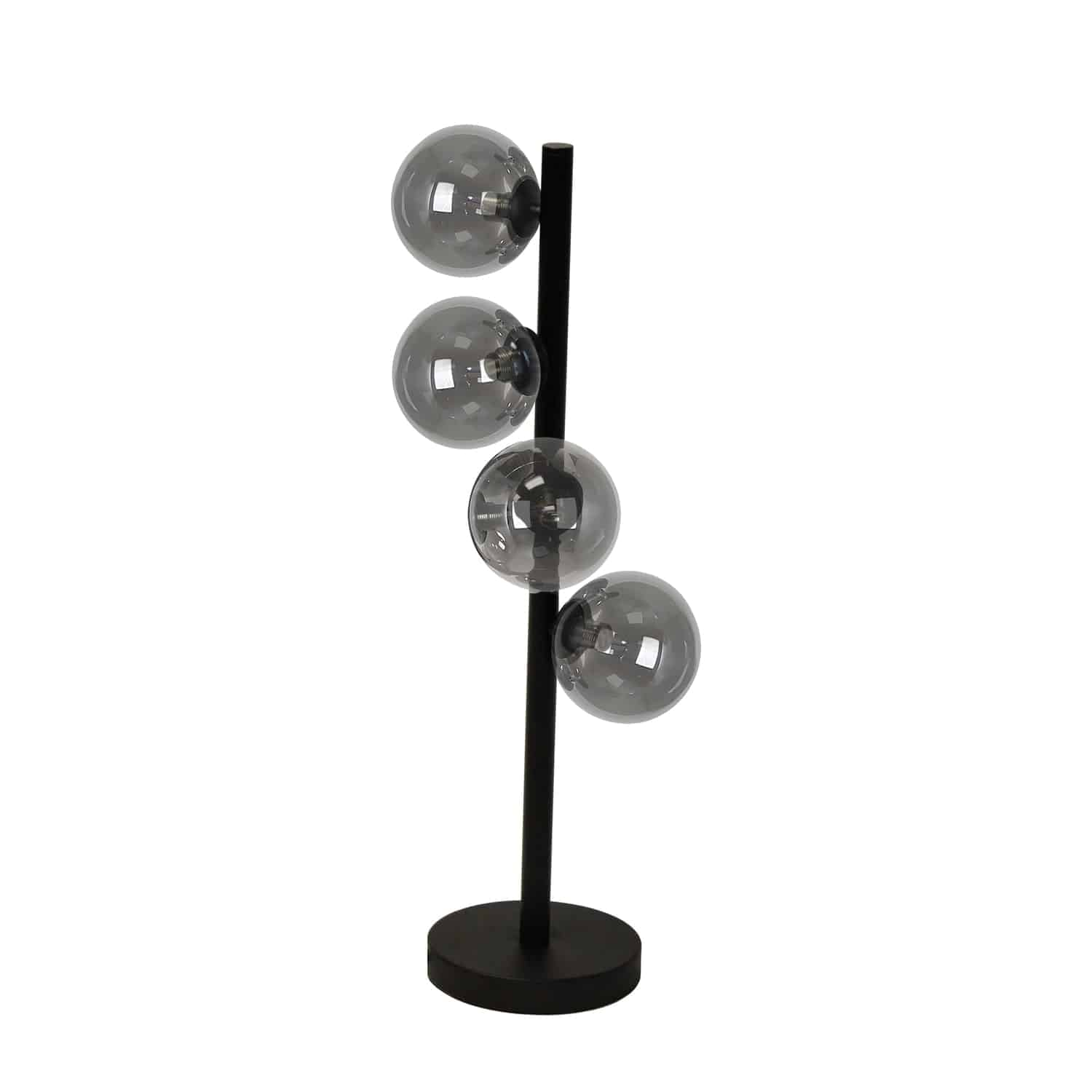 4 Light Halogen Table Lamp, Matte Black Finish with Smoked Glass