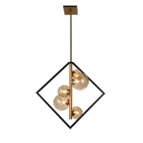 5 Light Pendant, Matte Black / Vintage Bronze Finish, Champagne Glass