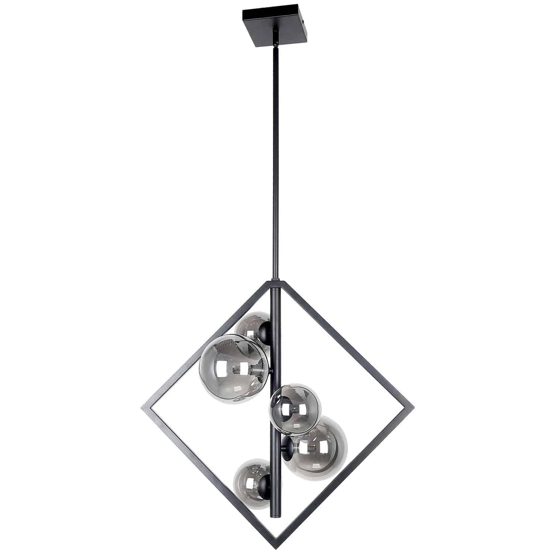 5 Light Halogen Pendant Matte Black Finish with Smoked Glass