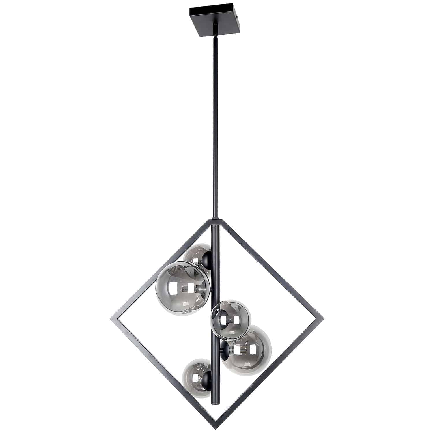 5 Light Halogen Pendant Matte Black Finish with Smoked Glass