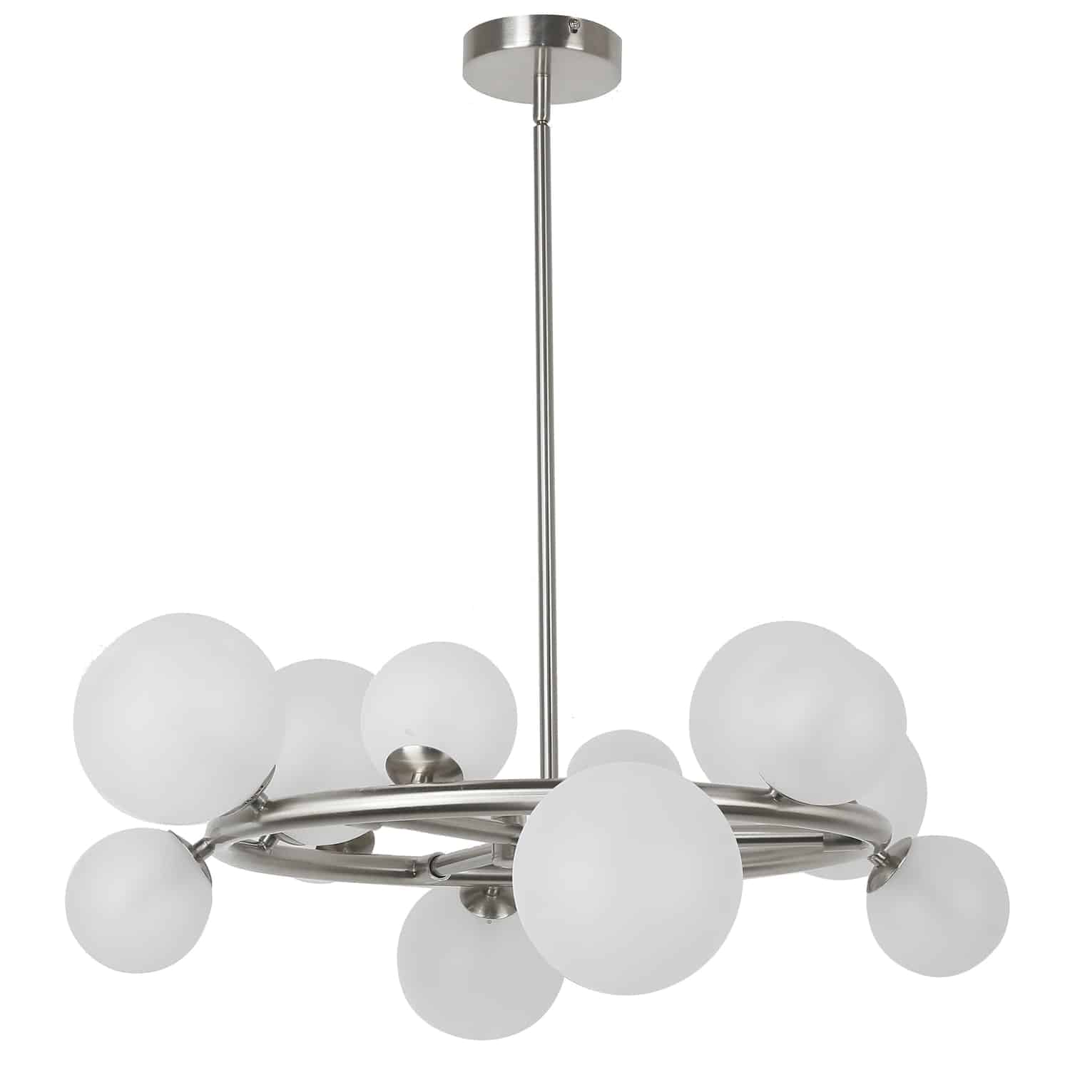 12 Light Halogen Round Chandelier, Polished Chrome Finish with White Glass
