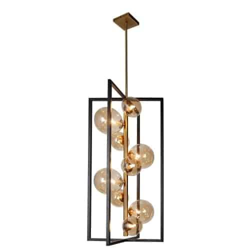 9 Light Pendant, Matte Black / Vintage Bronze Finish, Champagne Glass