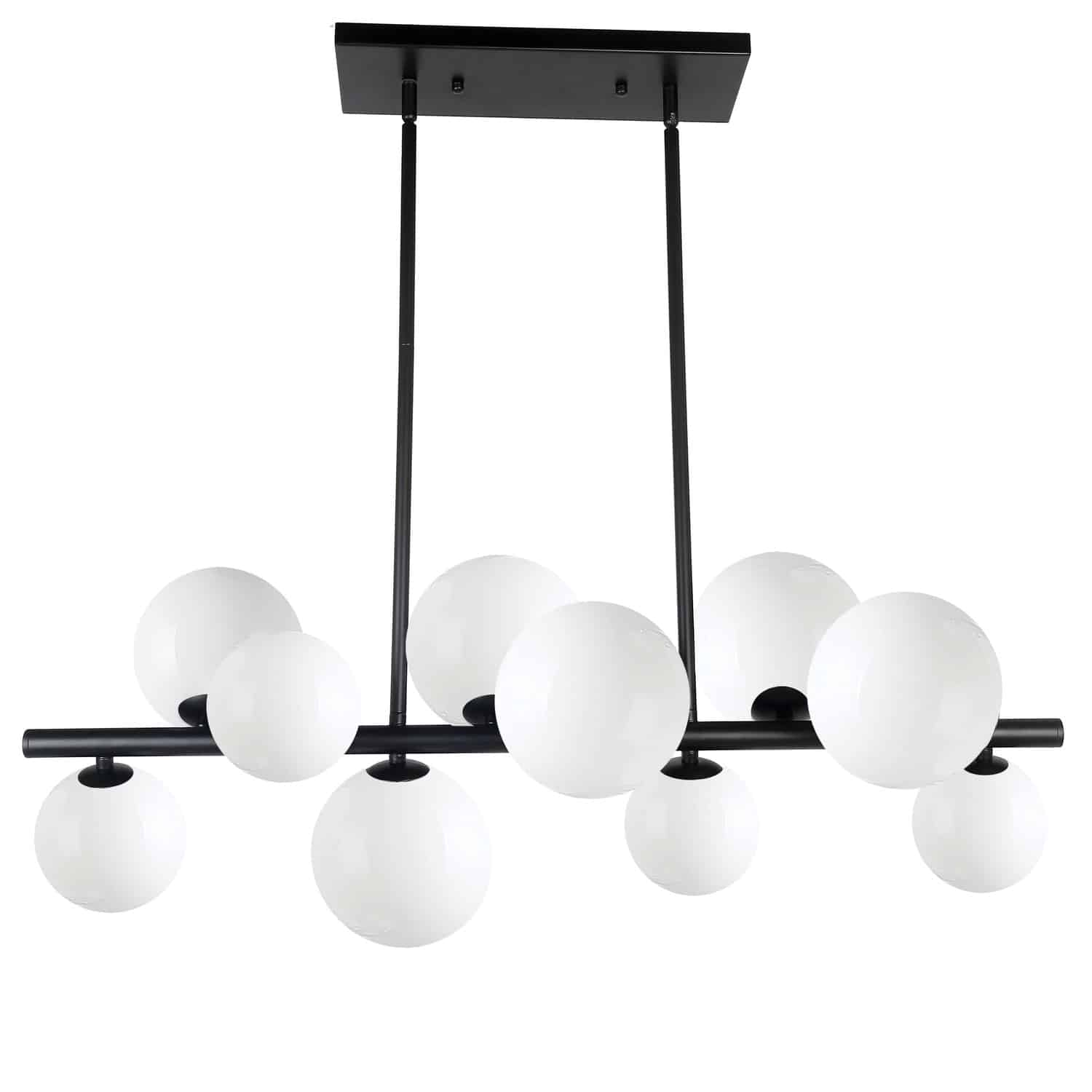 10 Light Halogen Horizontal Pendant Matte Black with Painted White Glass