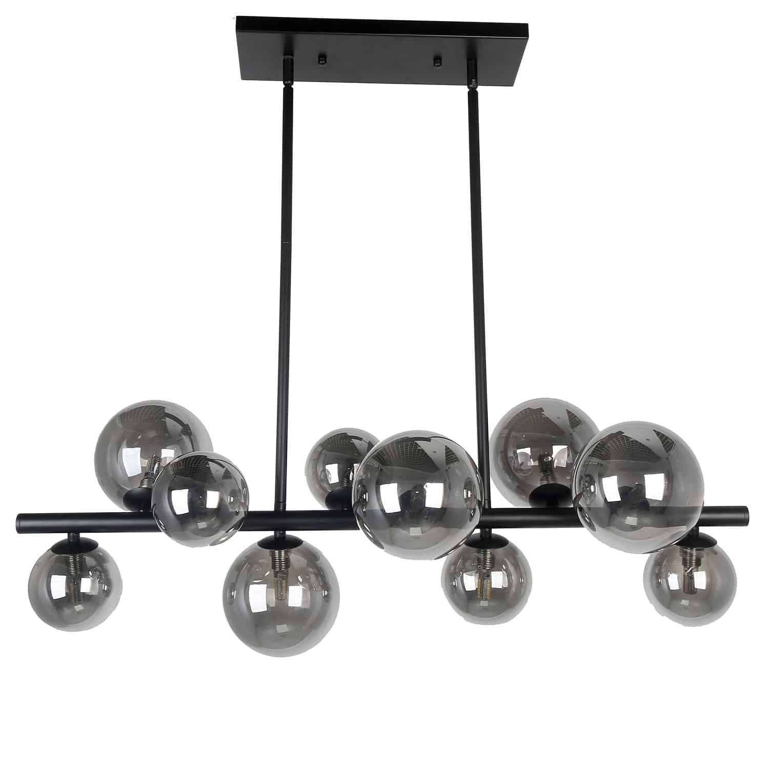 10 Light Halogen Horizontal Pendant Matte Black Finish with Smoked Glass