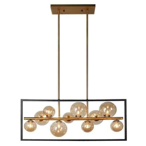 10 Light Horizontal Pendant, Matte Black / Vintage Bronze Finish, Champagne Glass
