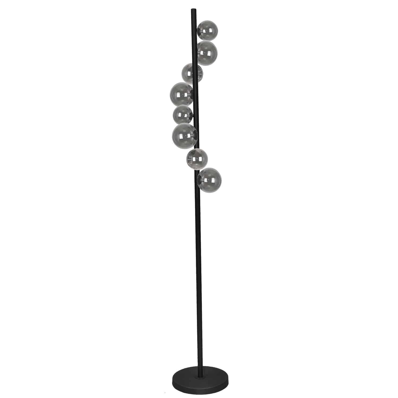 8 Light Halogen Floor Lamp Matte Black Finish with Smoked Glass