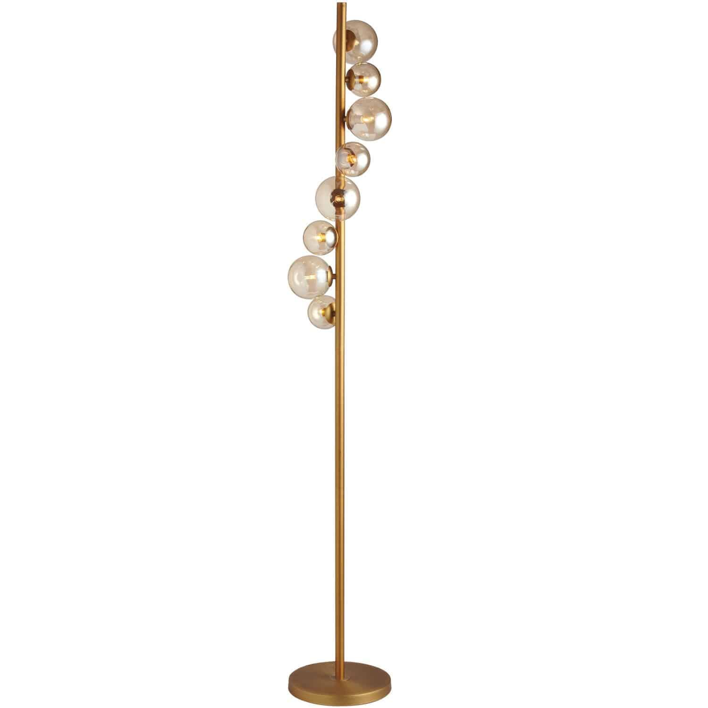 8 Light Halogen Floor Lamp, Vintage Bronze Finish with Cognac Glass