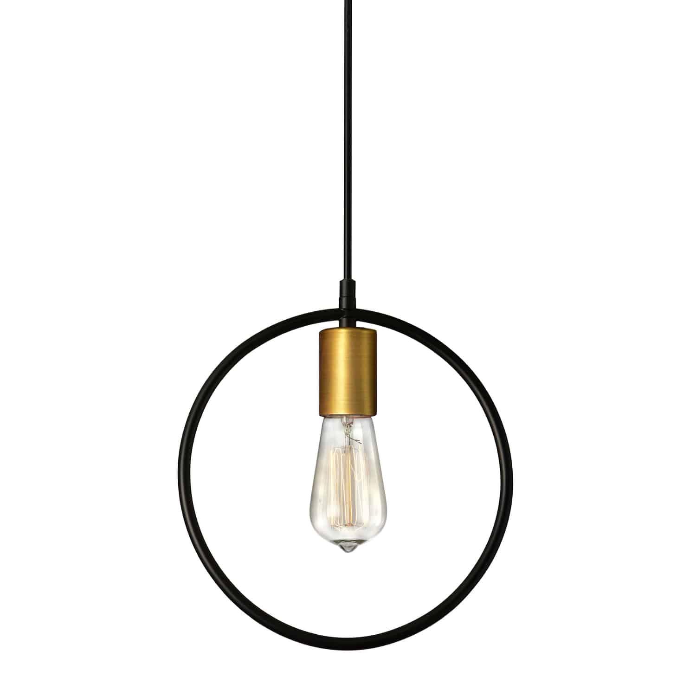 1 Light Pendant, Matte Black & Vintage Bronze Finish
