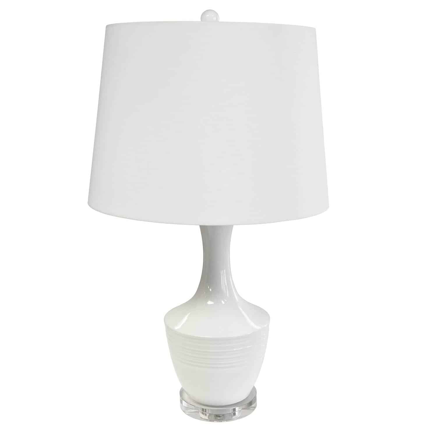 1 Light Ceramic Oversized Table Lamp, White Finish