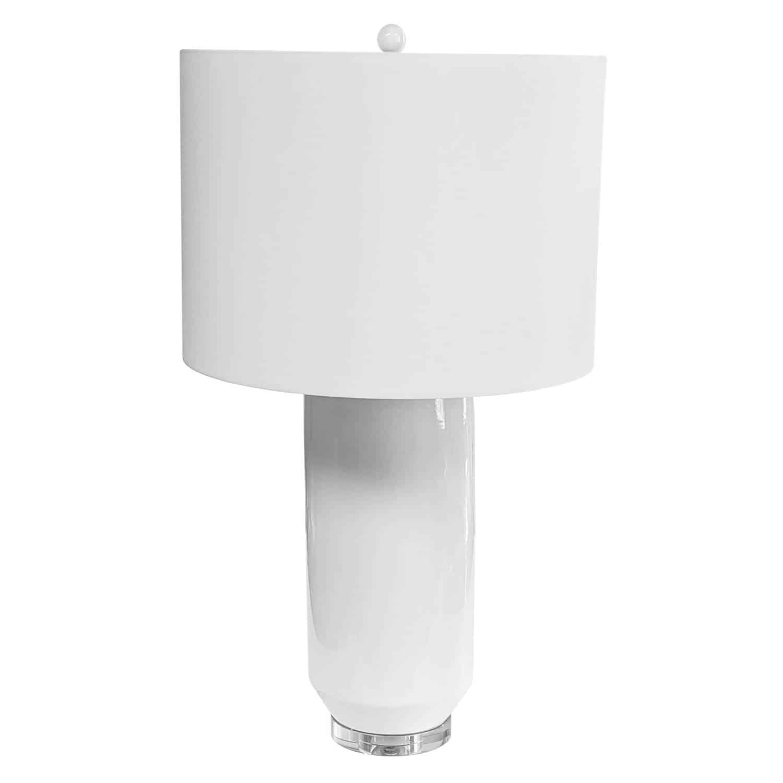 1 Light Ceramic Oversized Table Lamp, White Finish