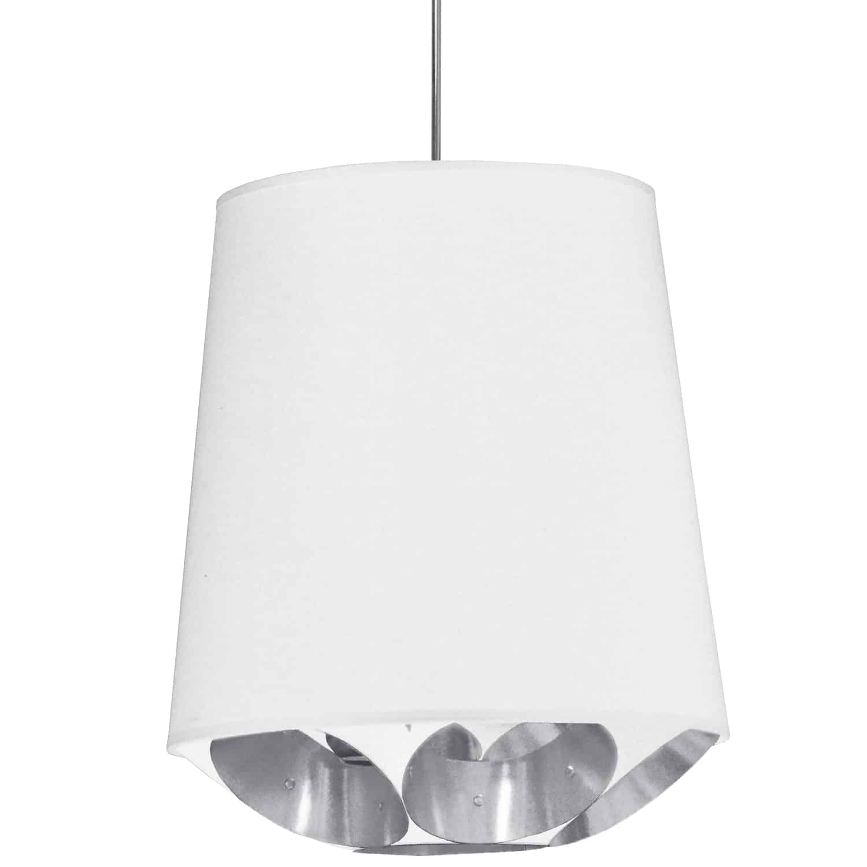 1 Light Hadleigh Pendant White on Silver Medium Polished Chrome