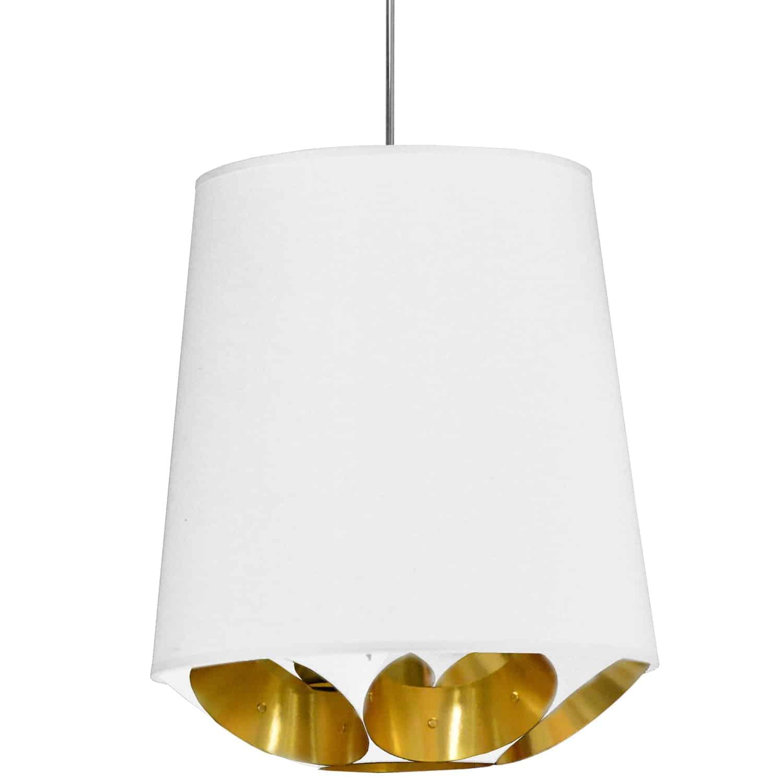 1 Light Hadleigh Pendant White on Gold, Medium White