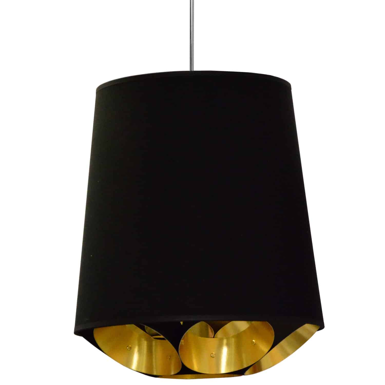 1 Light Hadleigh Pendant Black on Gold, Medium Black