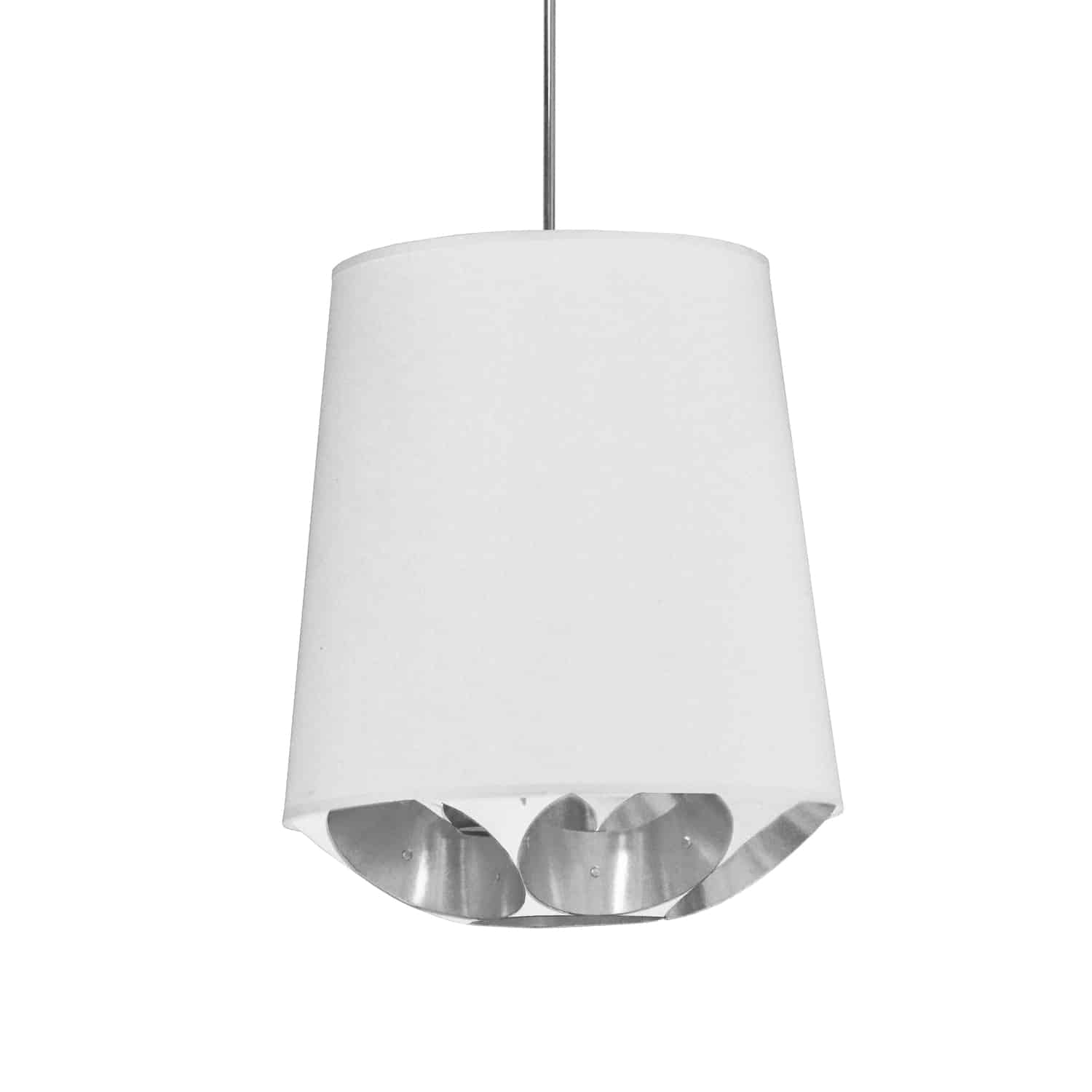 1 Light Hadleigh Pendant White on Silver Small Polished Chrome