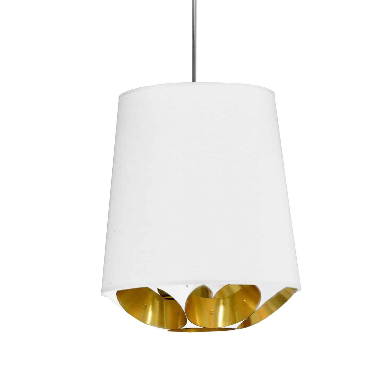 1 Light Hadleigh Pendant White on Gold, Small White