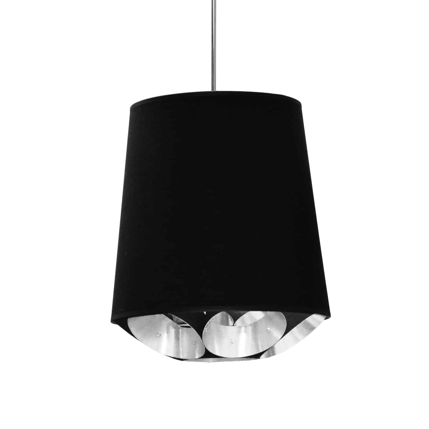 1 Light Hadleigh Pendant Black on Silver Small Polished Chrome