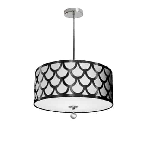 4 Light Pendant, Polished Chrome Finish, Black & White Shade