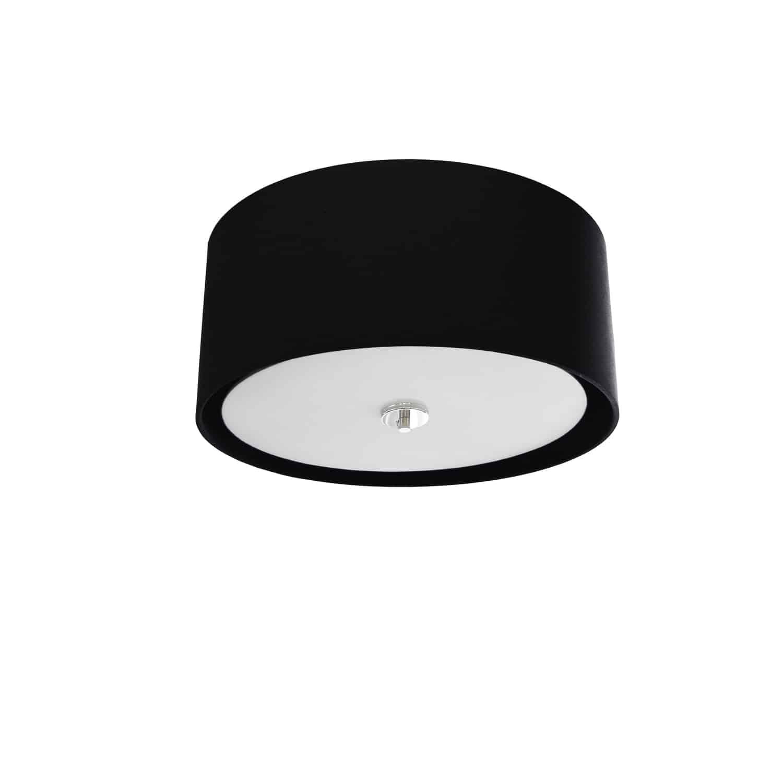 3 Light Helena Flush Mount Polished Chrome Black with White  Diffuser
