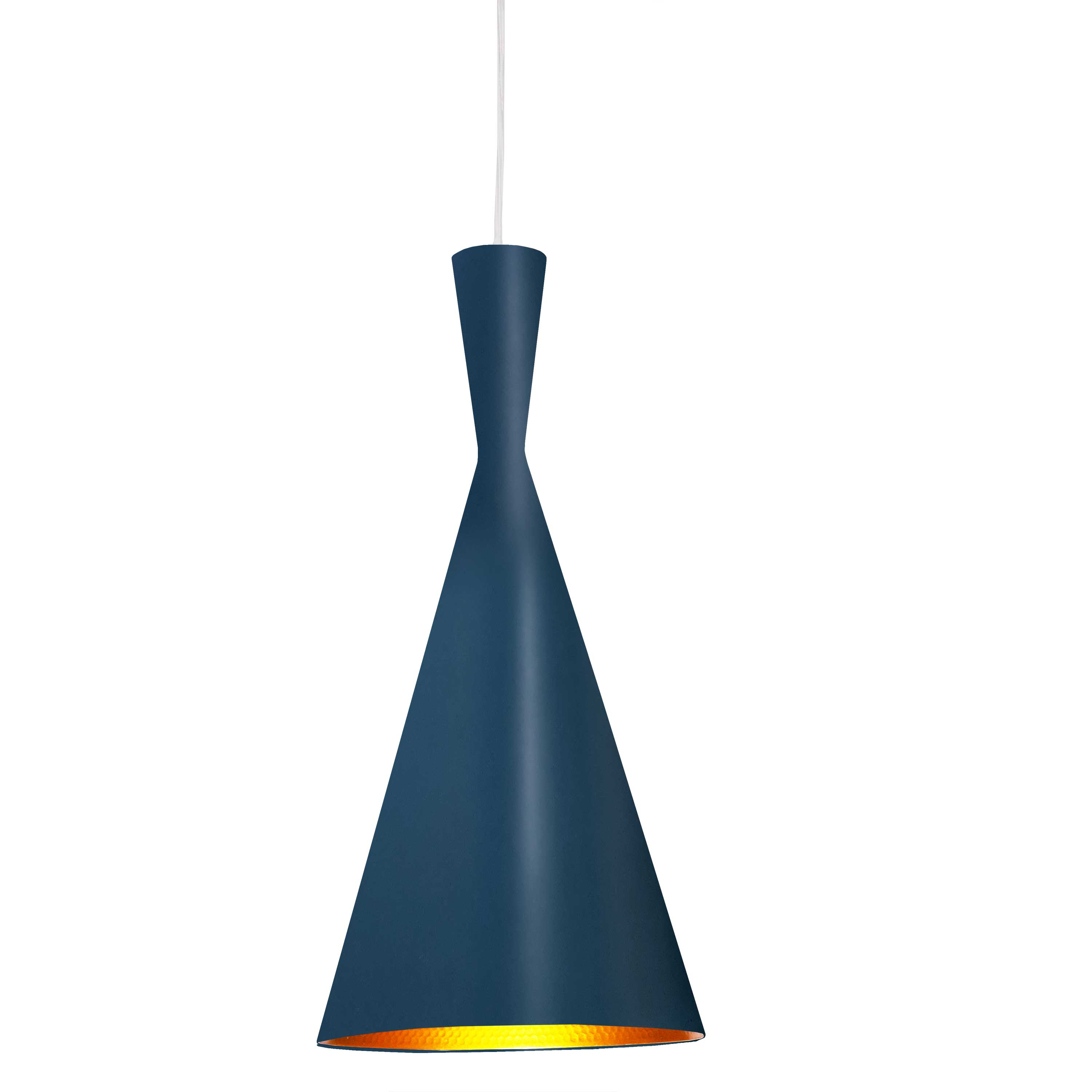 1 Light Incandescent Pendant Blue Finish with Gold Pebbled Interior