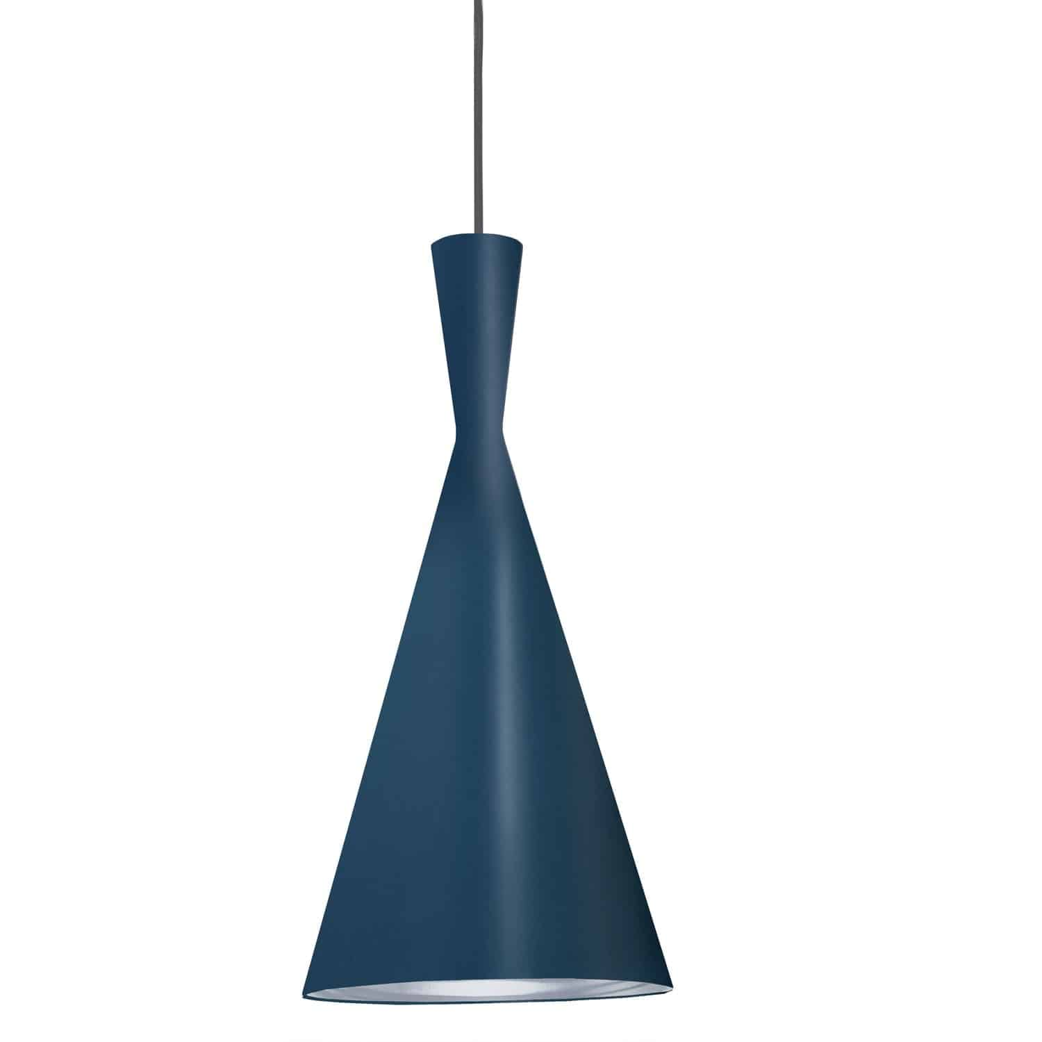 1 Light Incandescent Pendant Blue Finish with Silver Pebbled Interior