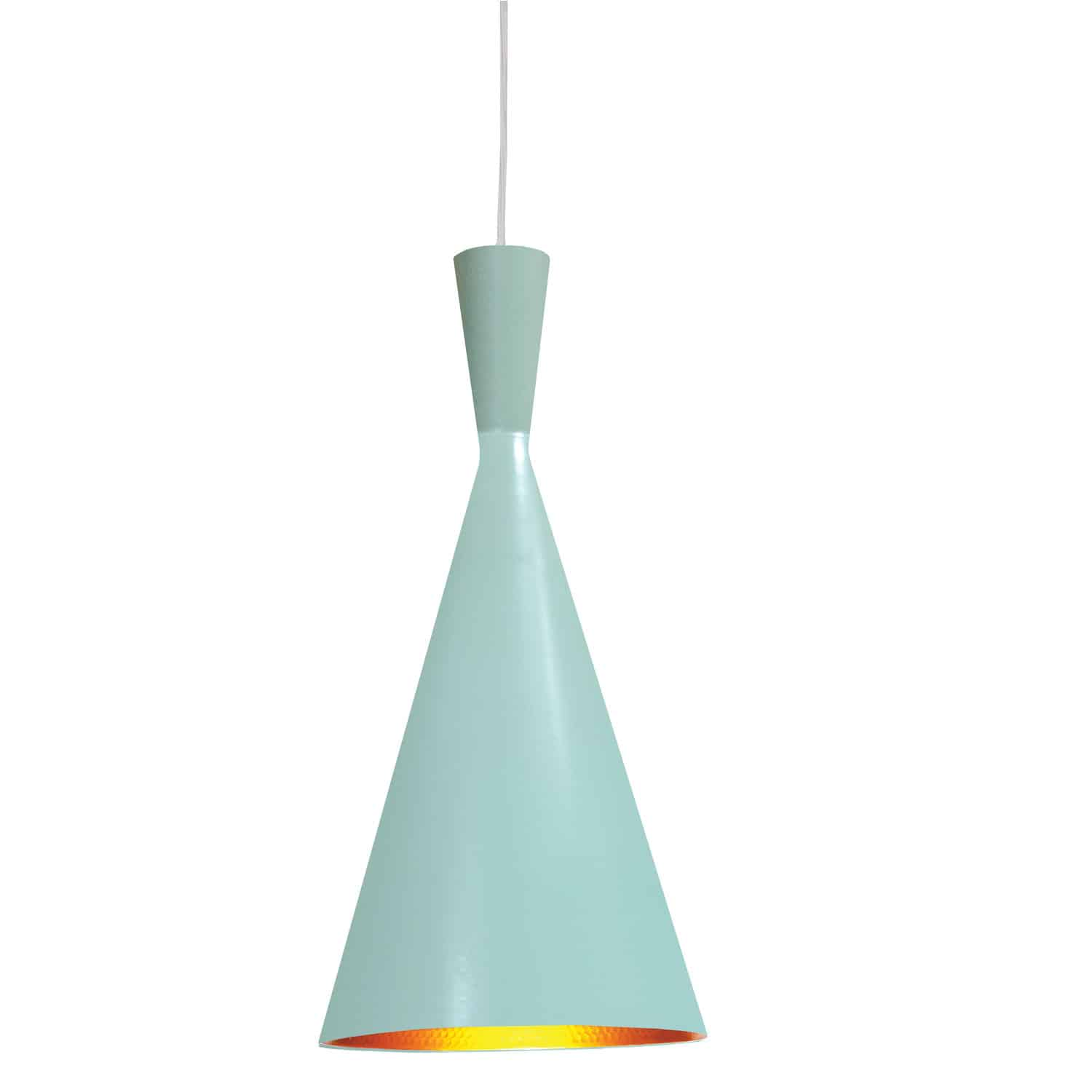 1 Light Incandescent Pendant Mint Finish with Gold Pebbled Interior