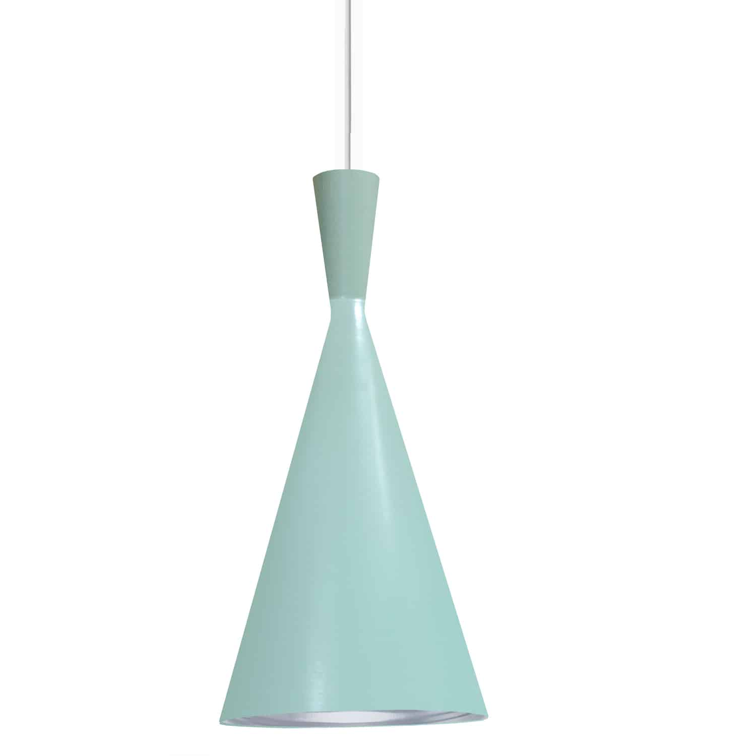 1 Light Incandescent Pendant Mint Finish with Silver Pebbled Interior
