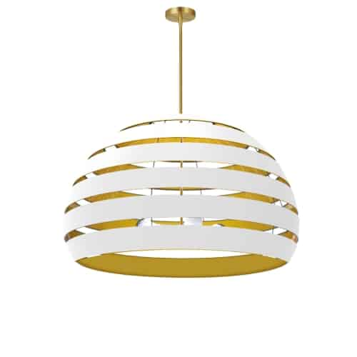 4 Light Aged Brass Chandelier w/ White/Gold Shade
