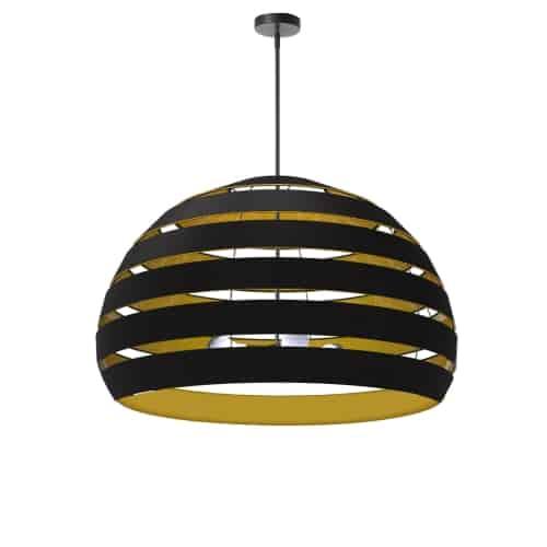 4 Light Matte Black Chandelier w/ Black/Gold Shade