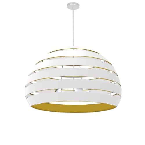 4 Light Matte White Chandelier w/ White/Gold Shade